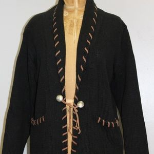 Other - Vintage 1970's Woven Brown & Black Cardigan